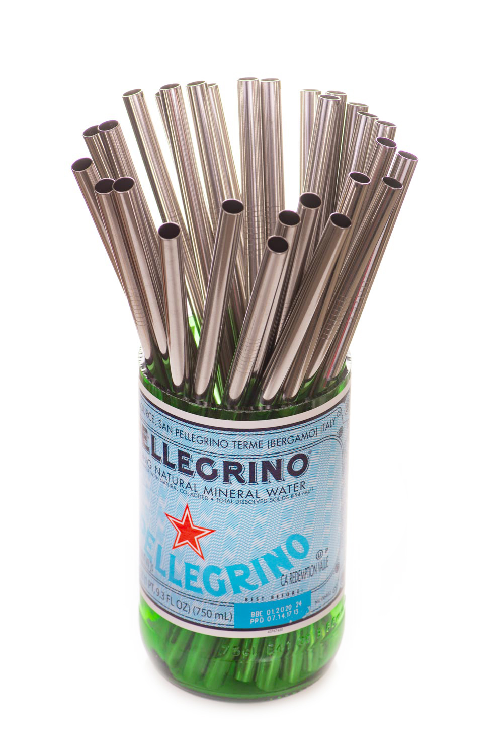 Bulk Stainless Steel Straws in Glass Jar