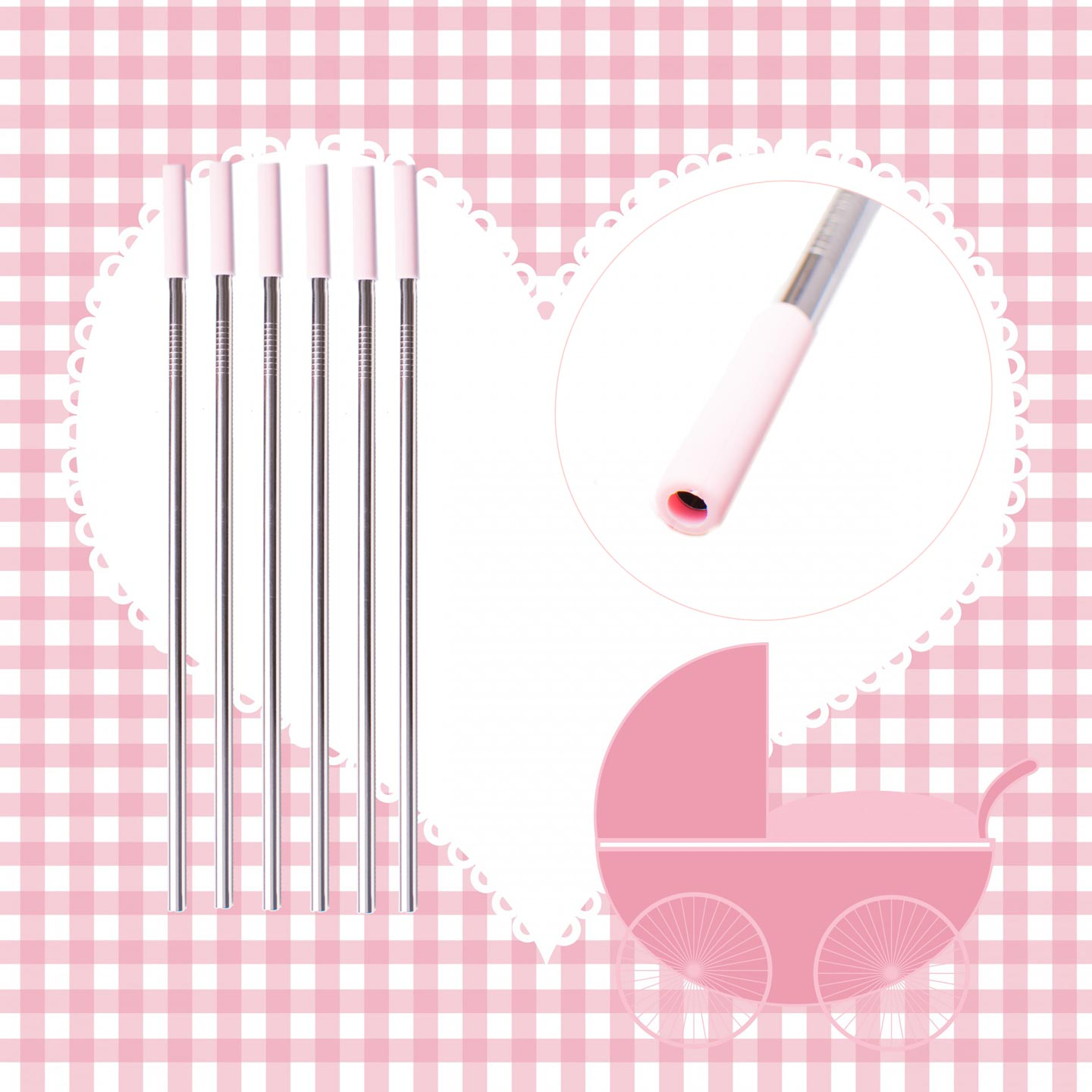 Its a Girl Stainless Steel Drinking Straw Set