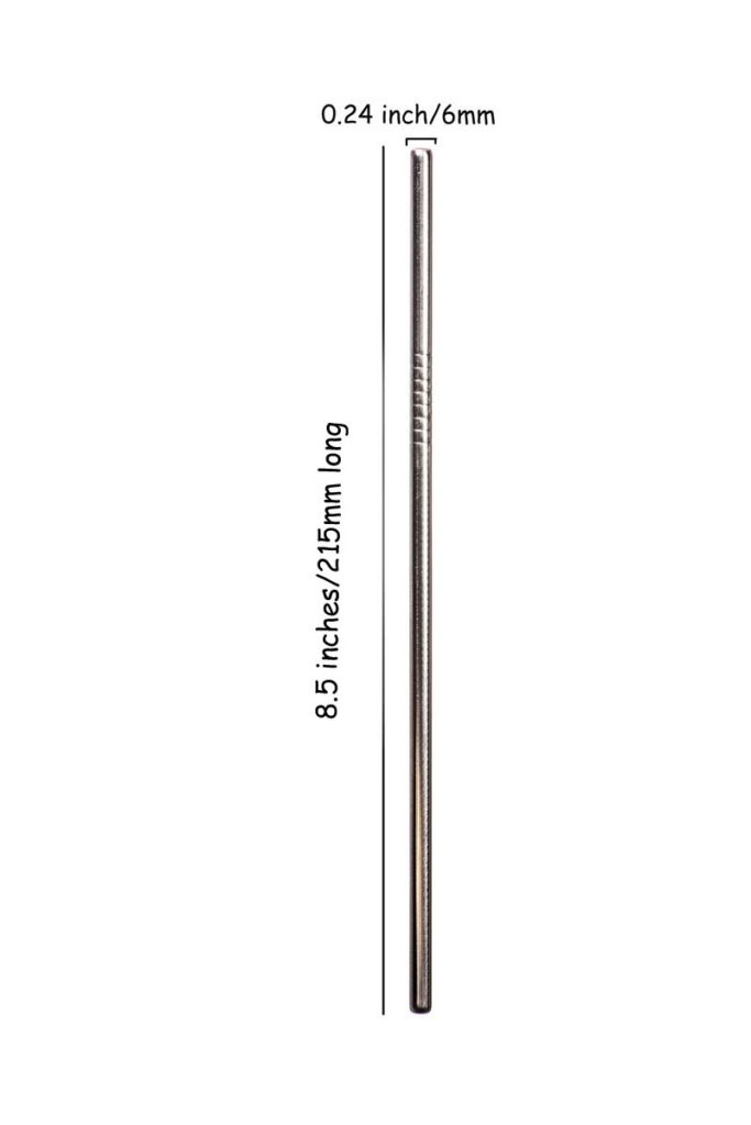 215*6mm straight stainless steel straw