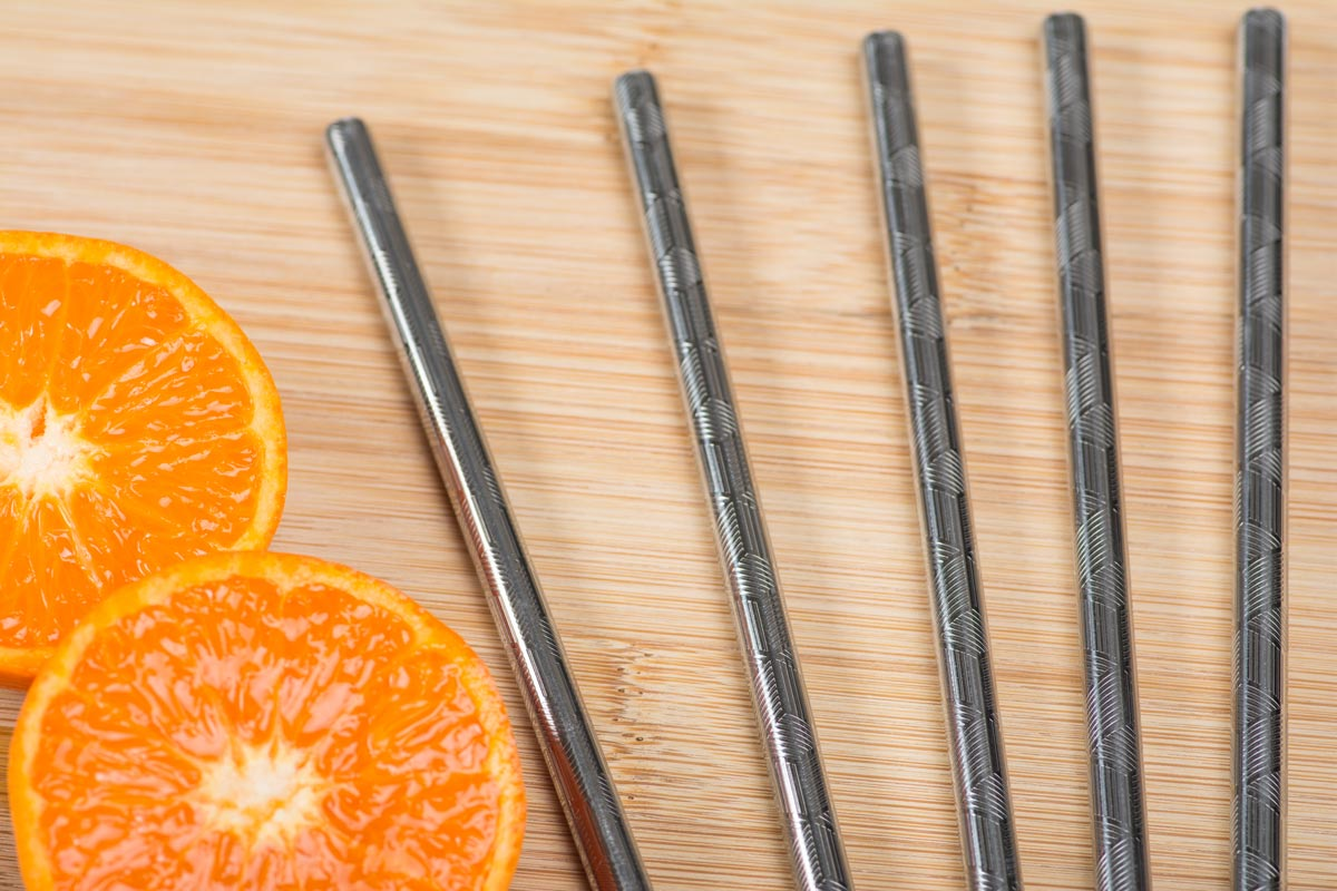 embossed stainless steel straw with orange