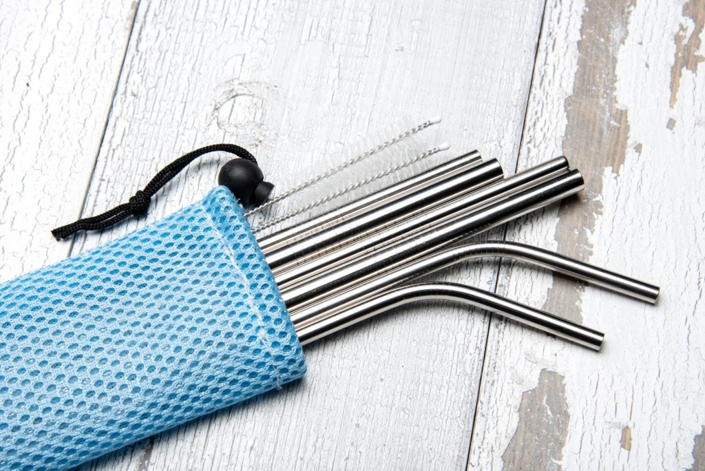 Individual stainless steel straw set blue bag