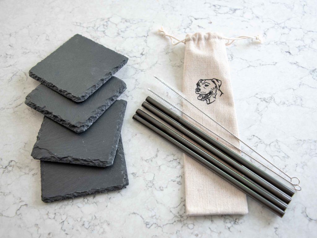 Stainless Steel Straw and Coaster