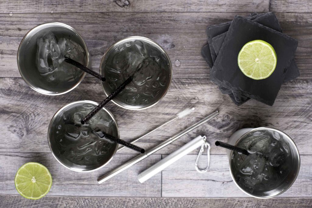 Stainless Steel Straw, Cup and Slate Coaster Set