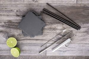 Slate Coaster Set with Straws