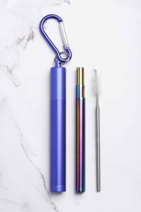 Rainbow Collapsible Metal Straw Set