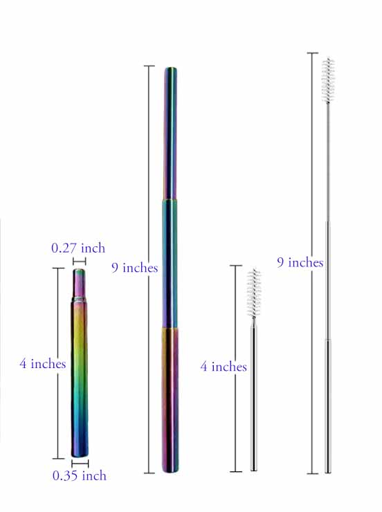 Rainbow Metal Straw Dimensions