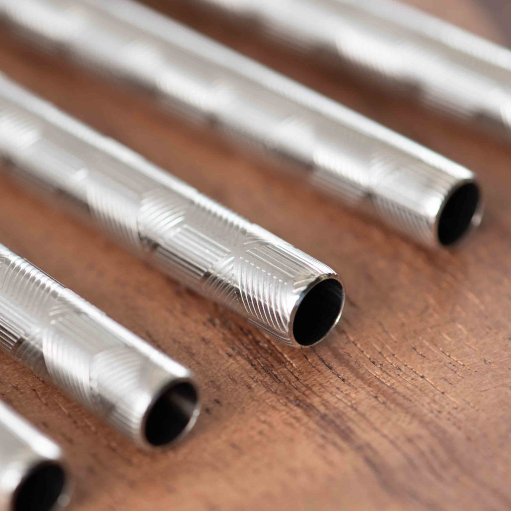 Embossed Silver 215*8mm Stainless Steel Straw